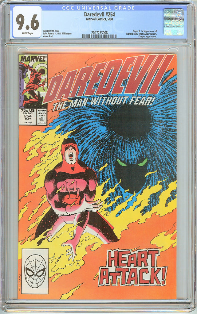 Daredevil #254 CGC 9.6 White Pages (1988) 2047253008 1st Typhoid Mary