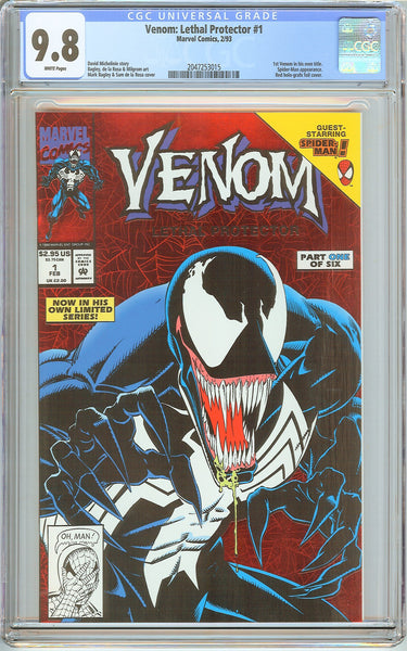 Venom Lethal Protector #1 CGC 9.8 White Pages 2047253015 Marvel Movie