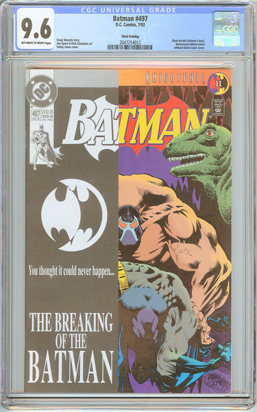 Batman # 497 CGC 9.6 OW to White Pages (1993) 2047254012 Rare Third Printing