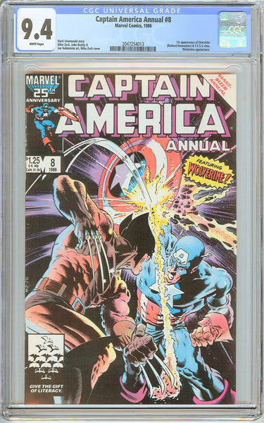 Captain America Annual #8 CGC 9.4 White Pages (1986) 2047254013