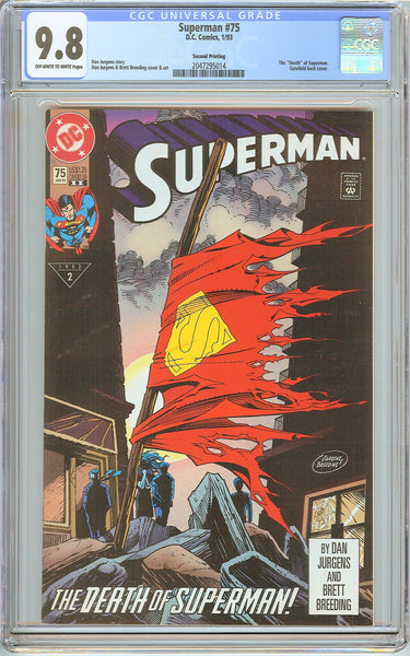 Superman #75 CGC 9.8 OW to White Pages 2047295014 Second Printing