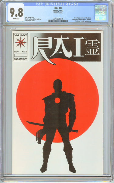 Rai #0 CGC 9.8 White Pages (1992) 2047295019 1st Bloodshot