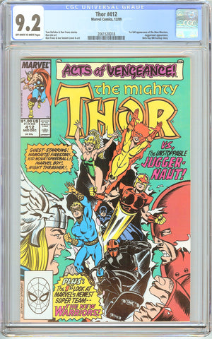 Thor #412 CGC 9.2 OWT White Pages (1989) 2061520018 1st New Warriors