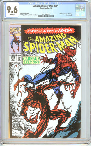 Amazing Spider-Man #361 CGC 9.6 White Pages 2071398007 First Carnage