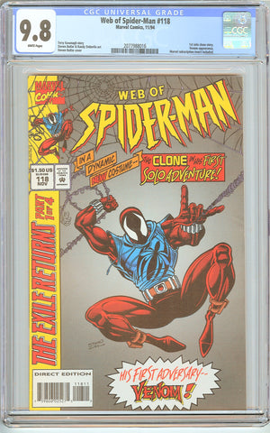 Web of Spider-Man #118 CGC 9.8 White Pages (1994) 2077988016