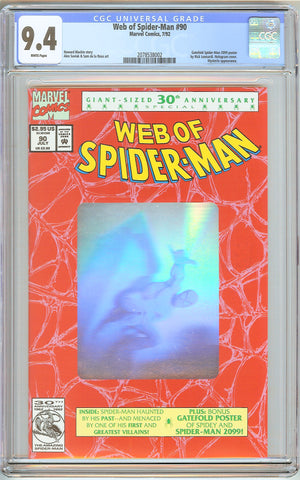 Web of Spider-Man #90 CGC 9.4 White Pages (1992) 2078538002