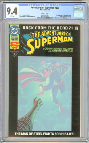 Adventures of Superman #500 CGC 9.4 White Pages 2078596006 Collectors Edition
