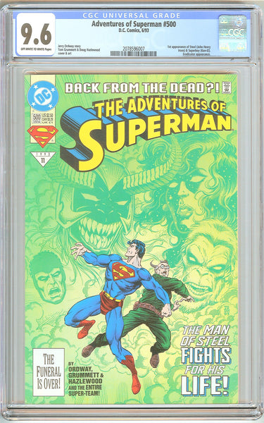 Adventures of Superman #500 CGC 9.6 OWT White Pages 2078596007 1st Steel