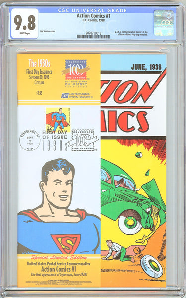 Action Comics #1 CGC 9.8 White Pages 2078710013 Reprint USPS Stamp