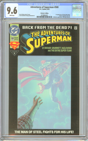 Adventures of Superman #500 CGC 9.6 White Pages 2078864021 Collectors Edition