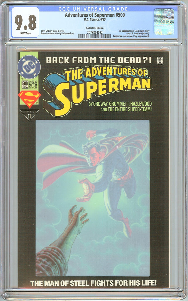 Adventures of Superman #500 CGC 9.8 White Pages 2078864022 Collectors Edition