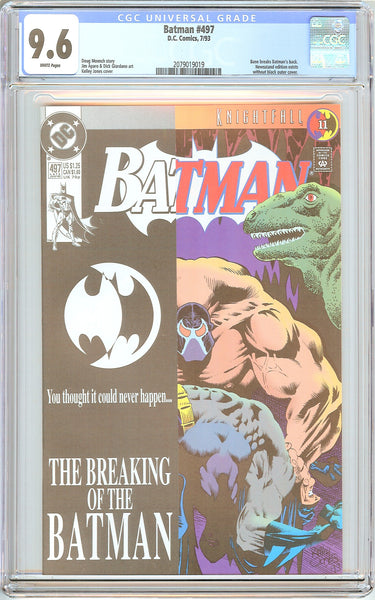 Batman # 497 CGC 9.6 White Pages (1993) 2079019019