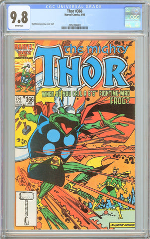 Thor #366 CGC 9.8 White Pages (1986) 2092204001
