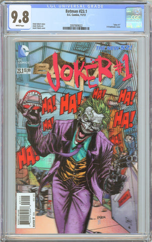 Batman #23.1 CGC 9.8 White Pages (2013) 2097909022 Joker 3-D LENTICULAR COVER