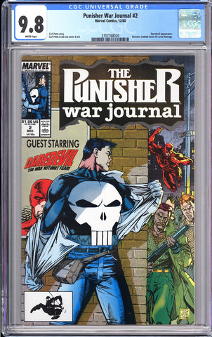 Punisher War Journal #2 CGC 9.8 White Pages 1988 3707768020 Daredevil Appearance