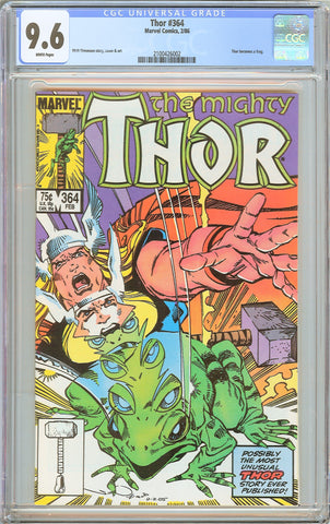 Thor #364 CGC 9.6 White Pages 1986 2100426002 Thor becomes a frog
