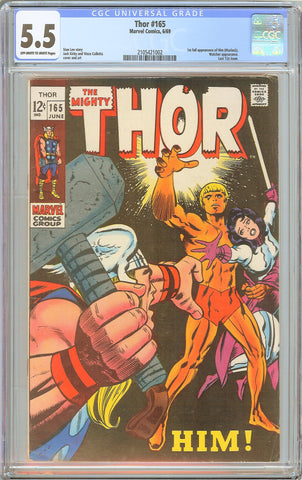 Thor #165 CGC 5.5 OW/WP 1969 2105421002 1st App. Warlock Last issue 12 cents