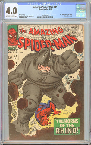 Amazing Spider-Man #41 CGC 4.0 OW to WP 1966 2105421015 1st Rhino