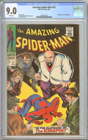 Amazing Spider-Man #51 CGC 9.0 WHITE PAGES 1967 2105421021 Kingpin 2nd app.