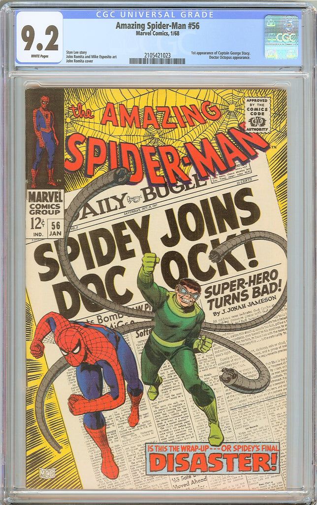 Amazing Spider-Man #56 CGC 9.2 WHITE PAGES 1968 2105421023 Stan Lee story