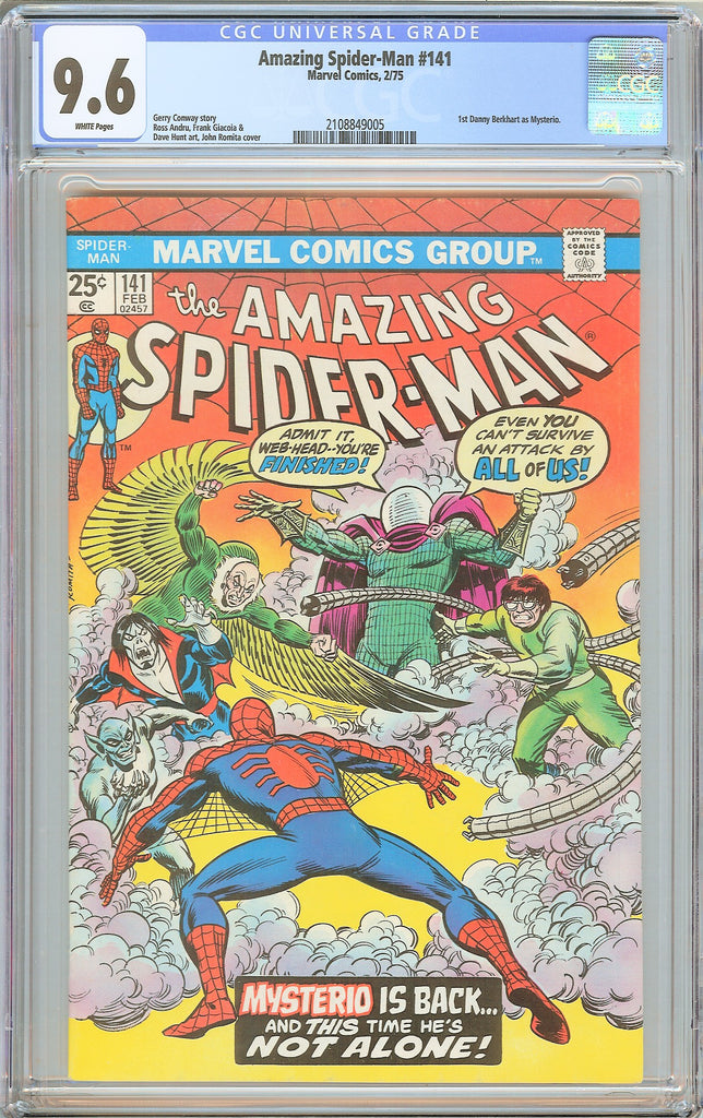 Amazing Spider-Man #141 CGC 9.6 WHITE PAGES 1975 2108849005 1st Mysterio