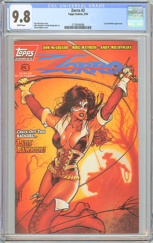 Zorro #3 Topps Comics CGC 9.8 White Pages 1994 2118540006 Lady Rawhide Adam Hugh