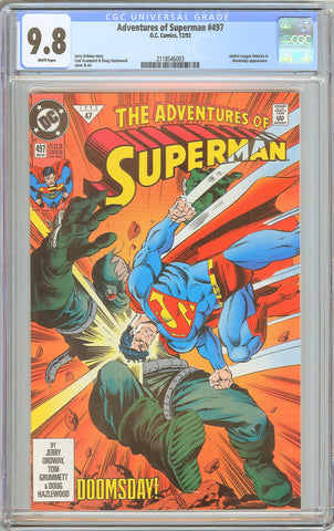Adventures of Superman #497 CGC 9.8 White Pages 1992 2118546003 Doomsday