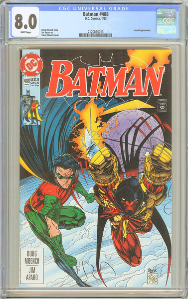 Batman # 488 CGC 8.0 White Pages 1993 2120695013 Robin takes Azreal under his wi