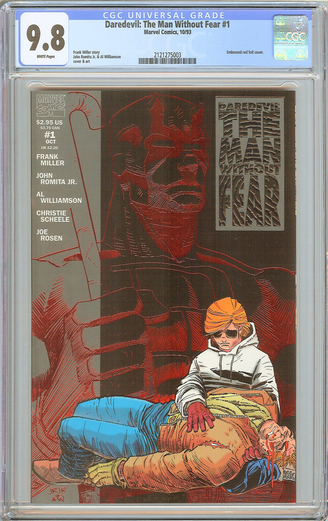 Daredevil The Man Without Fear #1 CGC 9.8 WP 1993 2121275003 Embossed Red Foil