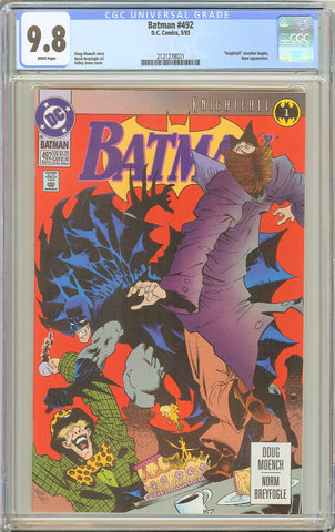 Batman # 492 CGC 9.8 White Pages 1993 2121278021 Knightfall Storyline Begins