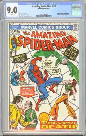 Amazing Spider-Man #127 CGC 9.0 WHITE PAGES 1973 2123164002 Vulture & Human Torc