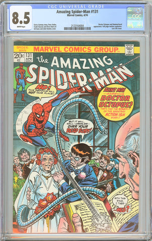 Amazing Spider-Man #131 CGC 8.5 WHITE PAGES 1974 2123164004 Last 20¢ issue