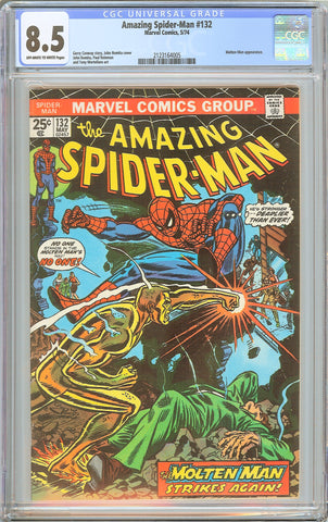 Amazing Spider-Man #132 CGC 8.5 OWW 1974 2123164005 Molten Man Appearance