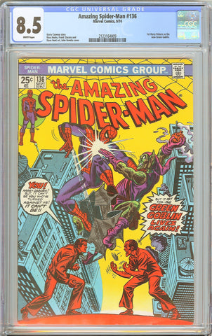 Amazing Spider-Man #136 CGC 8.5 WHITE PAGES 1974 2123164009 1st Harry Osborn as