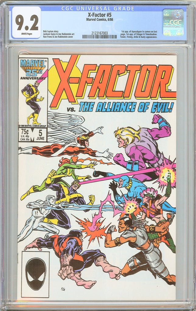 X-Factor #5 CGC 9.2 White Pages 1986 2123167003 1st Apocalypse Cameo