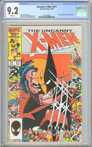 The Uncanny X-Men #211 CGC 9.2 White Pages 1986 2123167024 1st Marauders