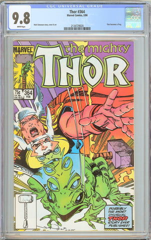 Thor #364 CGC 9.8 WHITE PAGES 1986 2134729020 Thor becomes a Frog
