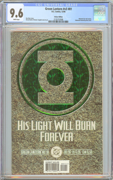 Green Lantern v3 #81 CGC 9.6 WP 1996 2135737008 Deluxe Embossed Emerald