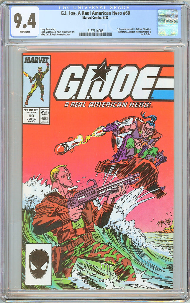 G.I. Joe A Real American Hero #60 CGC 9.4 White Pages 1987 2137114006