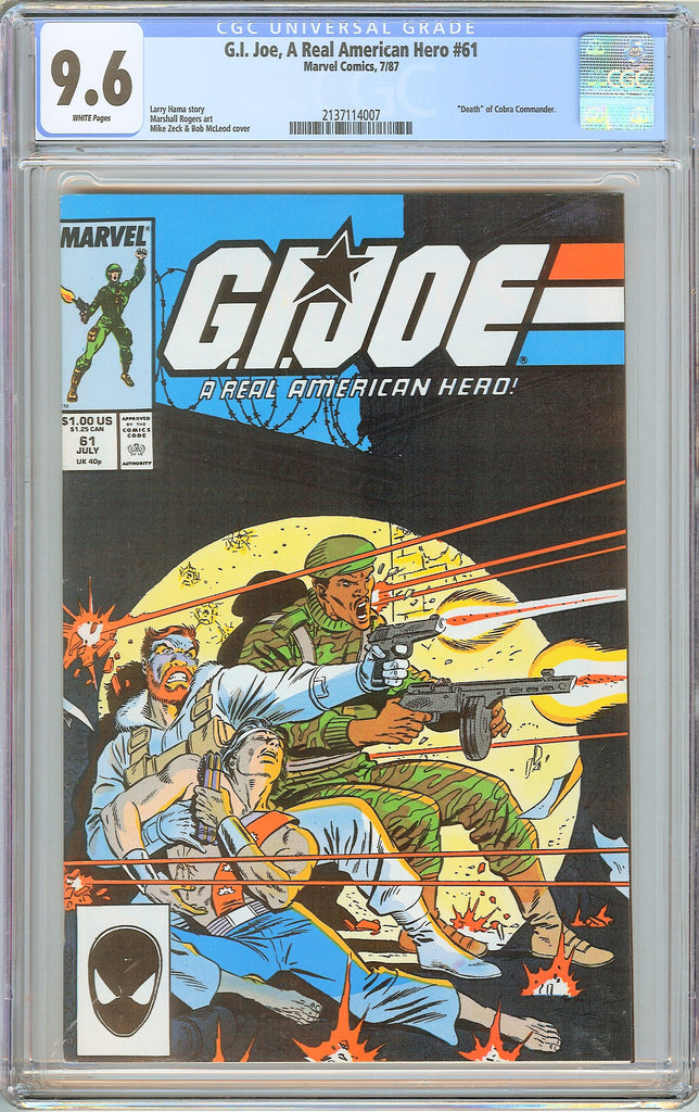 G.I. Joe A Real American Hero #61 CGC 9.6 White Pages 1987 2137114007