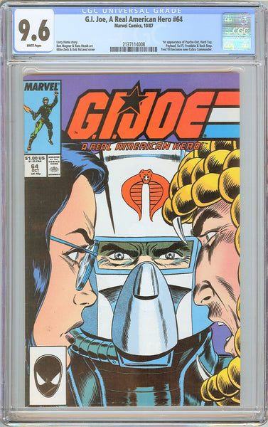 G.I. Joe A Real American Hero #64 CGC 9.6 White Pages 1987 2137114008