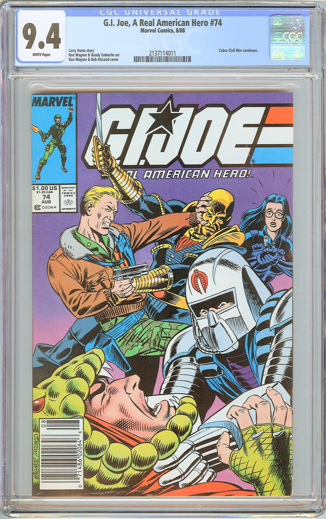 G.I. Joe A Real American Hero #74 CGC 9.4 White Pages 1988 2137114011