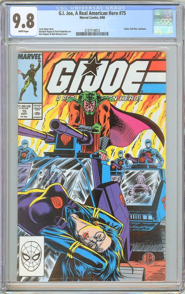 G.I. Joe A Real American Hero #75 CGC 9.8 White Pages 1988 2137114012