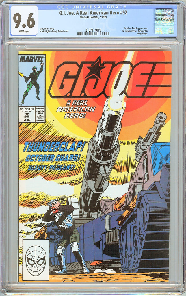 G.I. Joe A Real American Hero #92 CGC 9.6 White Pages 1989 2137114019