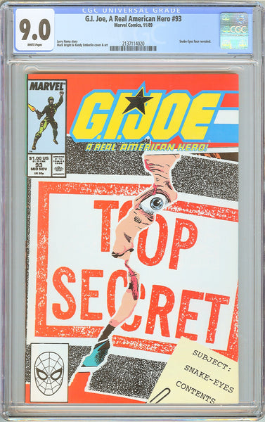 G.I. Joe A Real American Hero #93 CGC 9.0 White Pages 1989 2137114020