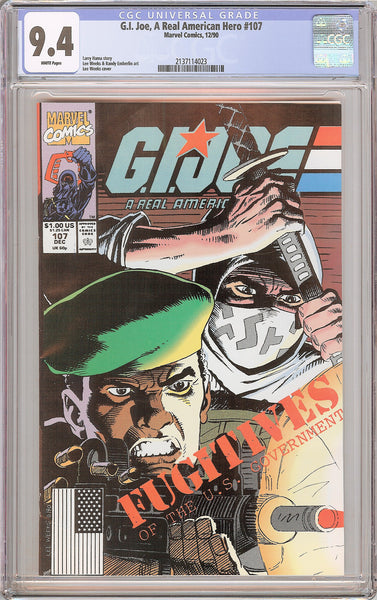 G.I. Joe A Real American Hero #107 CGC 9.4 White Pages 1990 2137114023