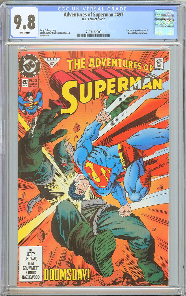 Adventures of Superman #497 CGC 9.8 WP 2137122009 Doomsday