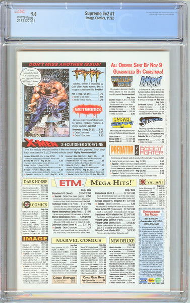 Supreme #1 CGC 9.8 WP 1992 2137122021 Embossed Silver Foil Logo