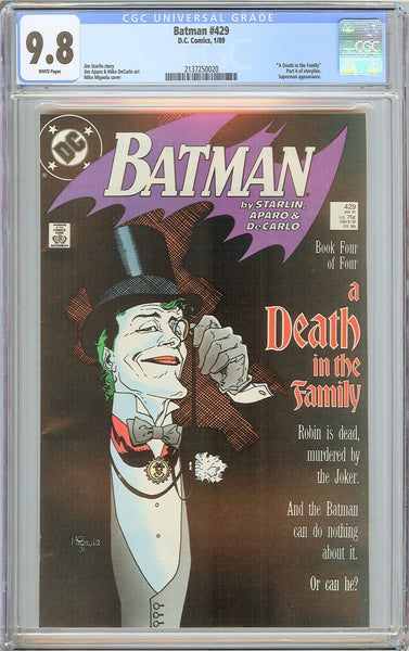 "Batman # 429 CGC 9.8 WP 1989 2137250020 """"A Death in the Family"""""
