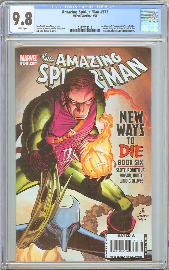 Amazing Spider-Man #573 CGC 9.8 WP 2008 2137476015 Stephen Colbert